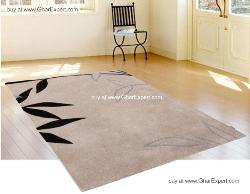 Fantasy Carpet series - Elegant minimal leafy pattern on beige colored area rug