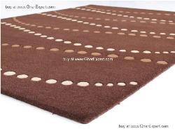 Fantasy Carpet series - Elegant and dotted waves pattern on expresso colored Area Rug