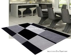 Fantasy Carpet series - Commercial geometrical pattern on black, white and shades of grey Area Rug