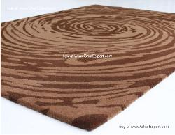 Fantasy Carpet series - Elegant spiral pattern on beige and brown colored colored area rug