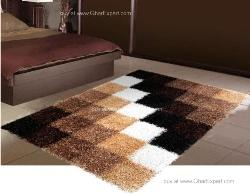 Luxury Carpet series - Inspiring shag rug in checkerboard pattern in the shades of brown white and black