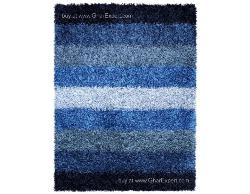 Luxury Carpet series - Inspiring  shag rug in Striped pattern in the shades of blue and grey