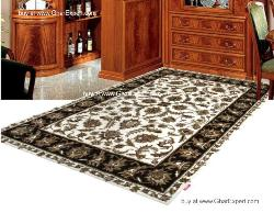 Royal Carpet series - Classic Floral Pattern on white and black colored area rug