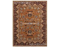 Royal Carpet series - Warm and elegant Floral Pattern on Dark gold and wine colored area Rug
