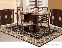 Royal Carpet series - Upscale looking Floral Pattern on black  background with beige border area Rug