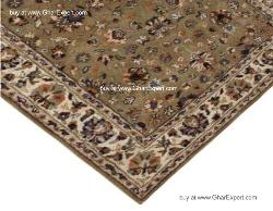 Royal Carpet series -Old Style Floral Pattern on Geen with ivory border area Rug