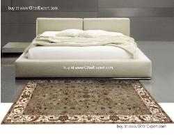 Royal Carpet series -Classical Floral Pattern on Geen with ivory border area Rug