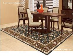 Royal Carpet series - Exceptional Floral Pattern on black background with mustard border area Rug