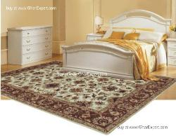 Royal Carpet series - Rich look Floral Pattern on ivory background with mustard border area Rug