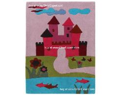 Kids Carpet series -  Colorful disney princess castle area rug in multi color