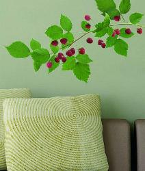 Green Leafy berries stem Wall sticker