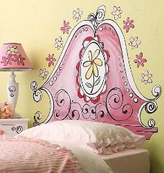 Pink colored headboard wall decal for Girl Kid