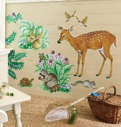 Wildlife with wall stickers for kids room and playways