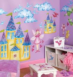 Fairy and Castles Wall sticker for Girls Room