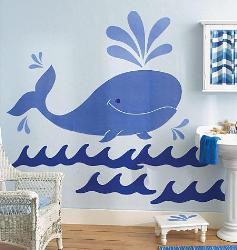 Whales in heavy tides Wall Sticker for Kids Room