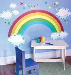 Sky with Rainbow and Clouds Wall Sticker for Kids Room
