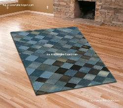 Recycled jeans carpet with diamond pattern