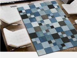 Bright colored jeans carpet in square pattern